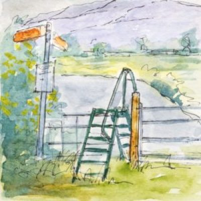 Ladder stile before the steep climb