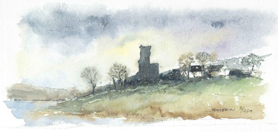 Rossbrin Castle - Watercolour sketch