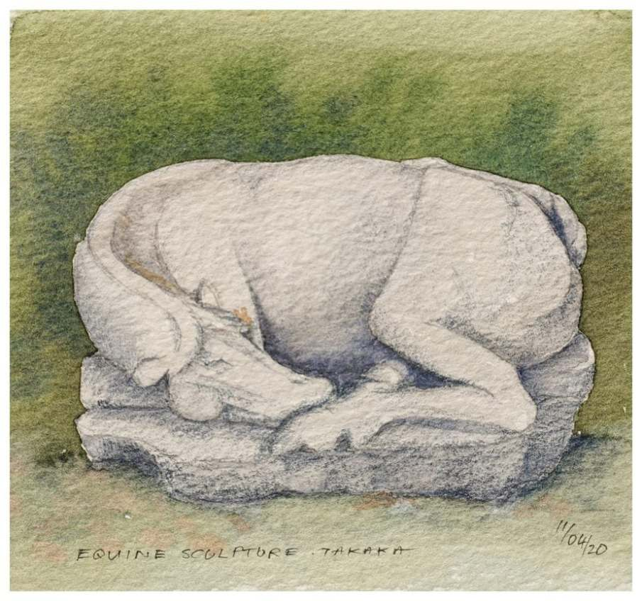 Equine sculpture, Takaka. Watercolour and pencil sketch