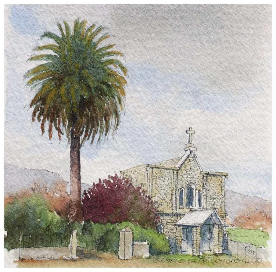 Church of the Sacred Heart, Takaka. Watercolour sketch