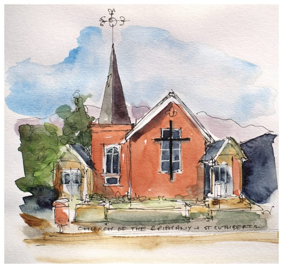 Church of the Epiphany & St Cuthbert. Watercolour sketch