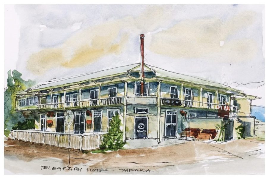 Telegraph Hotel, Takaka. Watercolour sketch