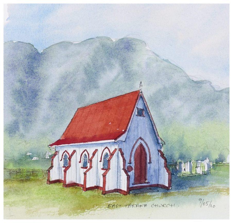 East Takaka Church, watercolour sketch
