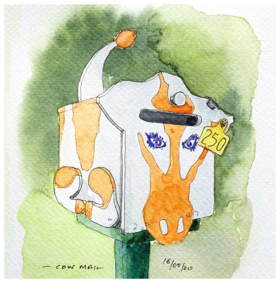 Mailbox painted with a cow's head. Watercolour sketch