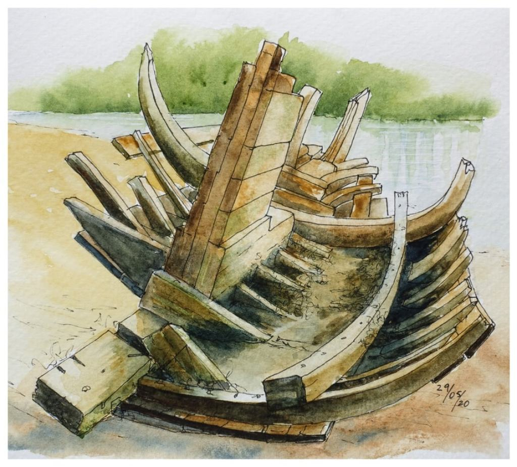 Weathered ribs of an old boat on a sandy shore. Watercolour sketch