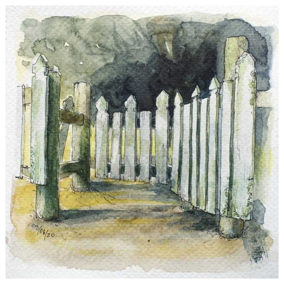 Wooden gate into graveyard. Watercolour sketch