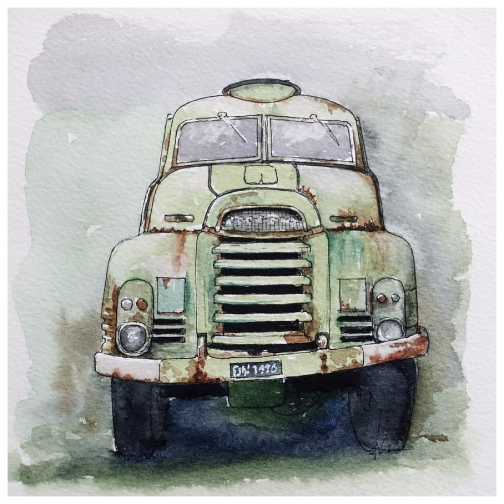 Rusty green old Bedford truck. Watercolour sketch