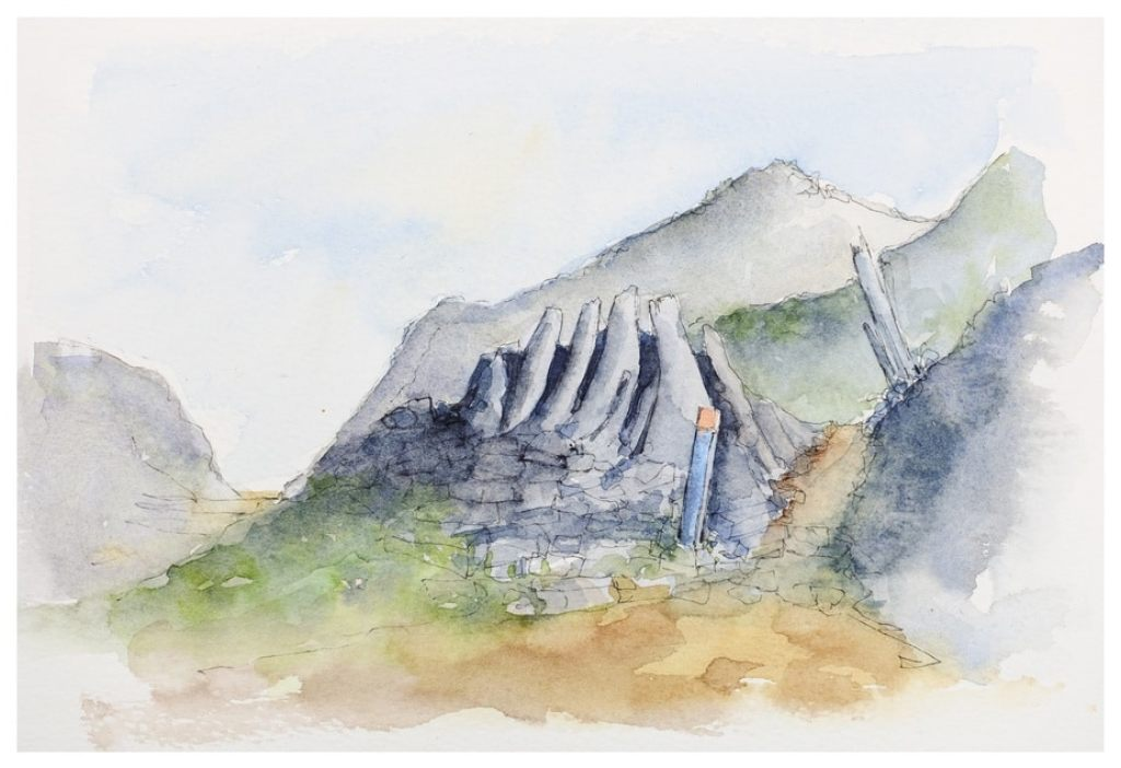 Takaka Hill, kast rock formations. Watercolour sketch