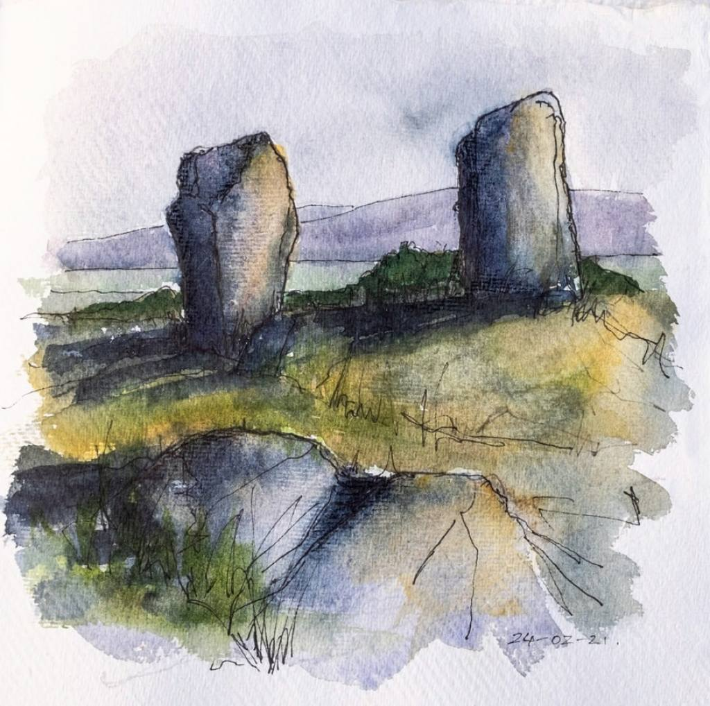Megalithic stones with strong shadows - watercolour sketch