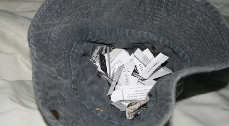 hat of names for fundraising selection