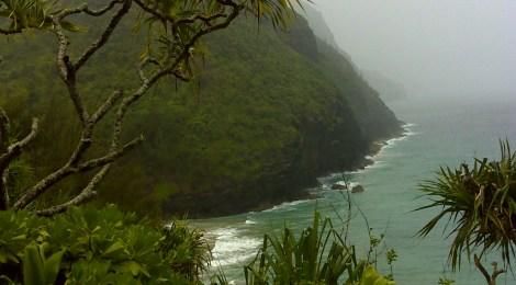 The first view of Hankapi'ai Beach beneath the Kalalau Trail