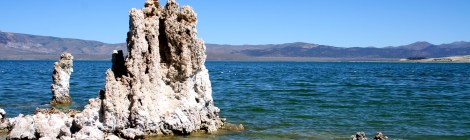 A tufa rises from the waters of Mono Lake