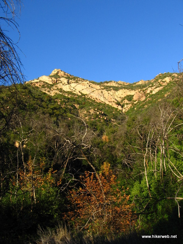 The crags as seen from deep in a small side canyon on the eastside of Mission Canyon.