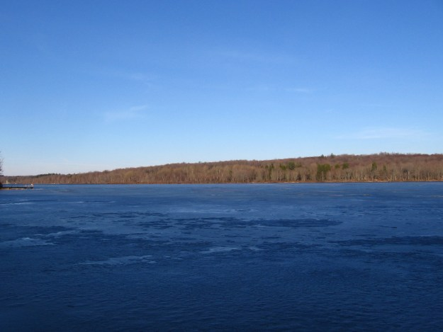 A still frozen Gouldsboro Lake.
