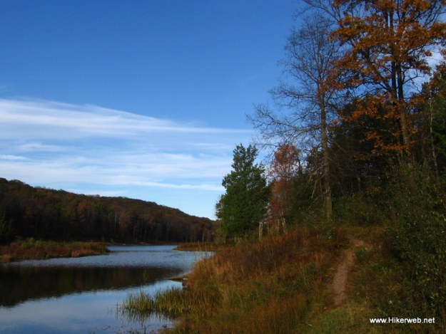 Trail following Blue Mountain Lake shoreline.