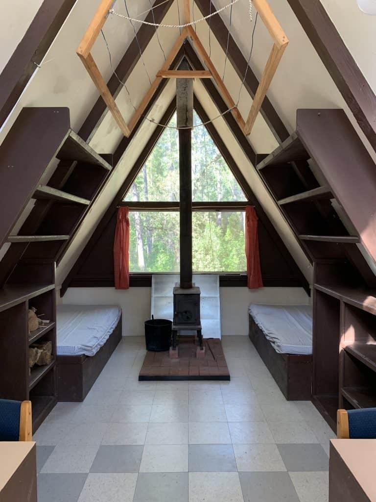 inside aframe cabin