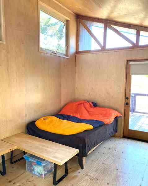 sleeping bag in cabin