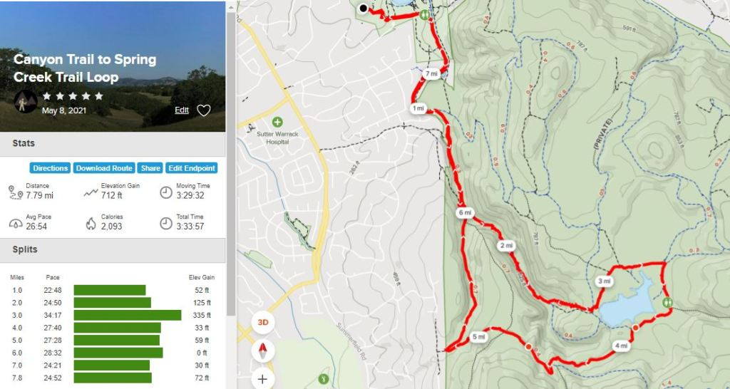alltrails map of hike