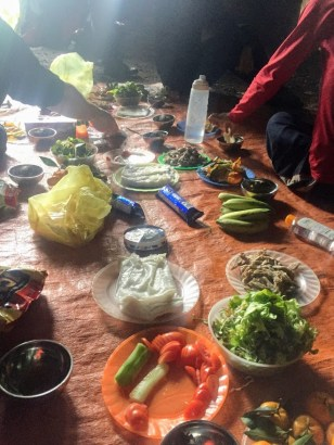 Even on a caving tour you can be a vegetarian in vietnam