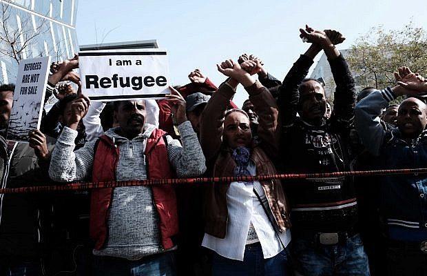 manifestazione pacifica di rifugiati