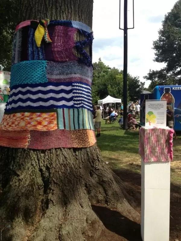 knitting on tree at Woodland Art Fair 2013