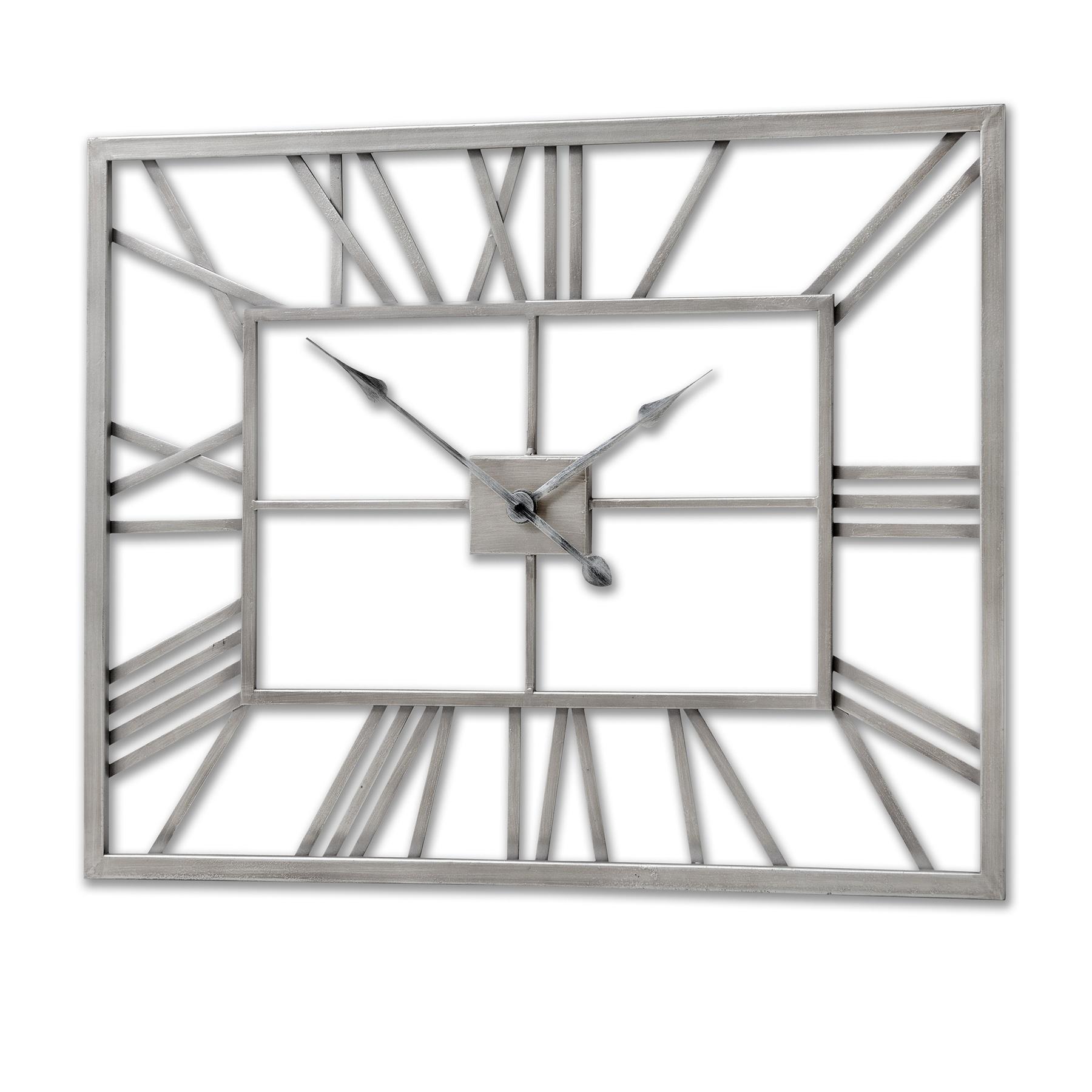 Silver Metal Frame Rectangular Clock From Hill Interiors