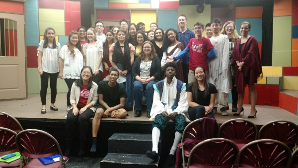Photo of Hillary DePiano with the cast of The Tale of Tales at Rutgers Prep