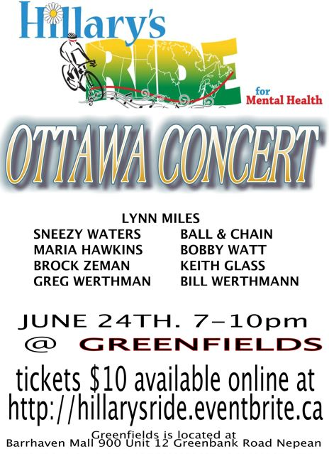 Details on the Ottawa concert on 24 June, 2013 at Greenfields near Ottawa.