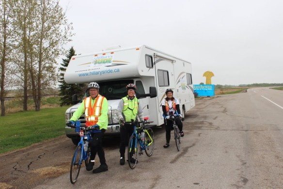 At the Saskatchewan/Manitoba border riding West Click photo for more images of day 18