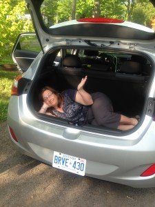 stuffed in the trunk of a car