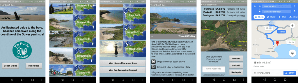 Gower Beach Guide App screen shots