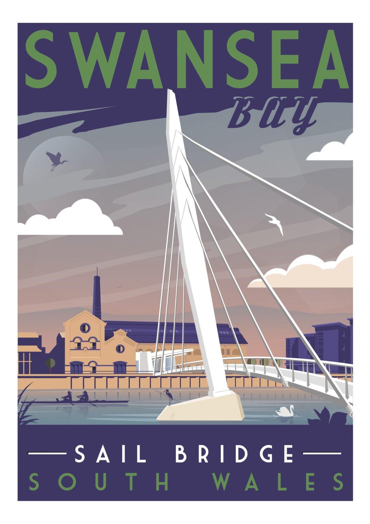 Swansea Sail Bridge - Gower Retro Art