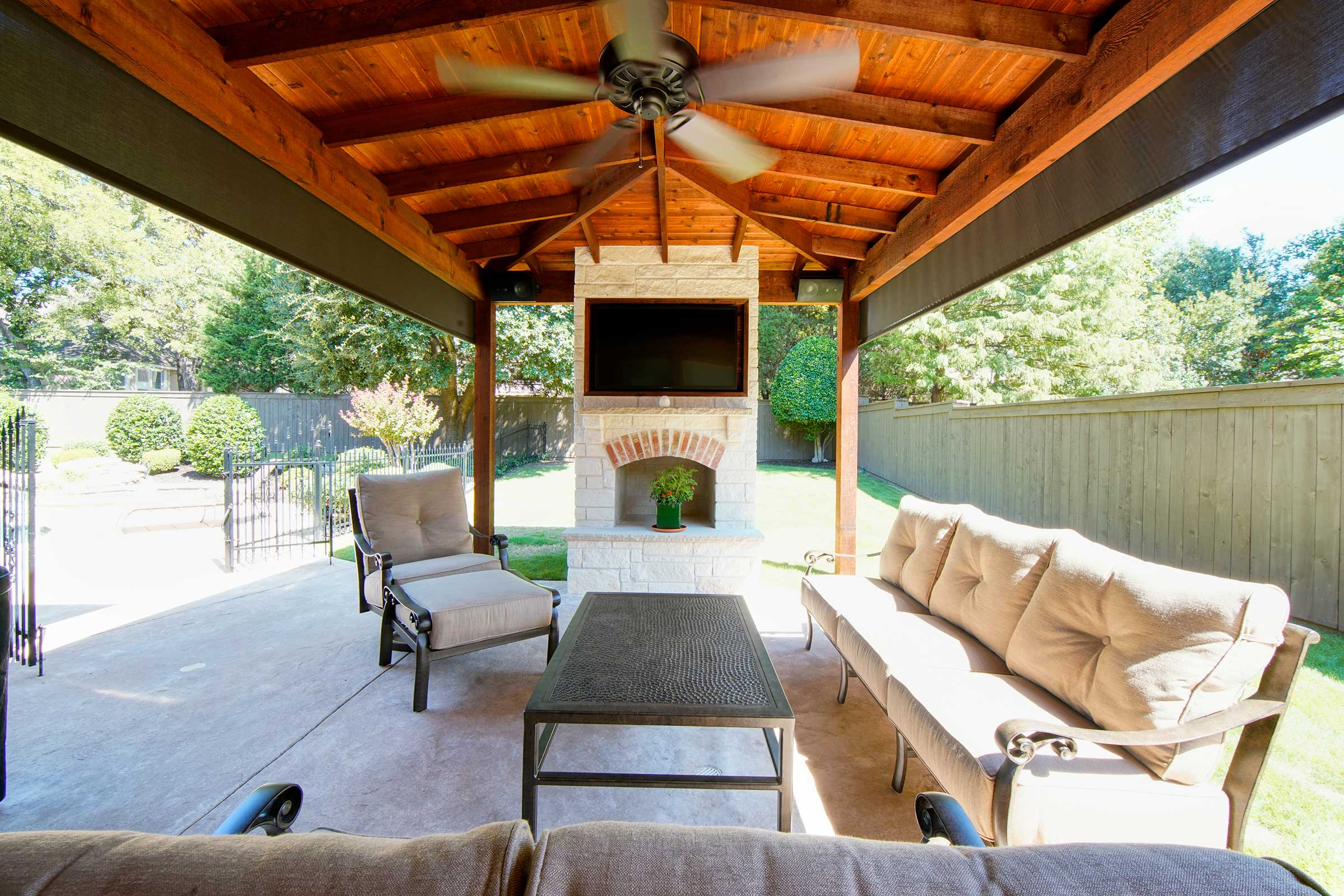 Outdoor Kitchens, Patio Covers | Fort Worth, Burleson TX ... on Covered Outdoor Kitchen With Fireplace id=54864