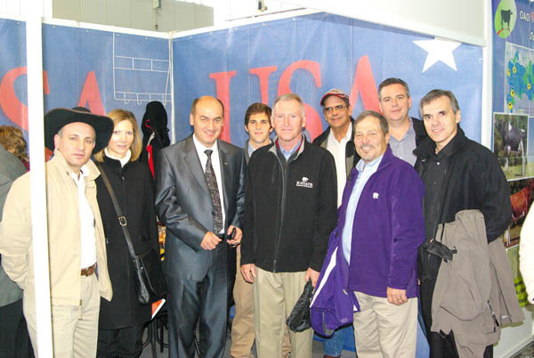 The K-State delegation and U.S. Embassy staff are pictured with the president of the Russian Engineering Academy of Management and Agribusiness at the Golden Autumn Farm Show in Moscow.