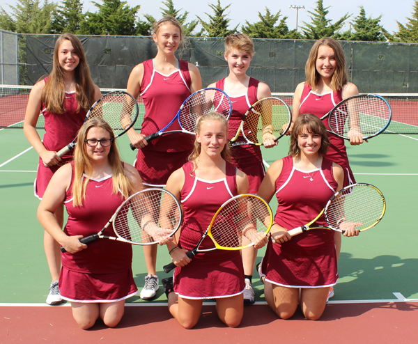 Coach Bob Woelk has seven athletes on the girls? tennis team this fall. They are: front row (from left) Shelby Johnson, Sonja Jost, Mary Leihy; back row, Hannah Funk, Ellian Weisbeck, Allison Gray and Anna Glanzer. Don Ratzlaff / Free Press