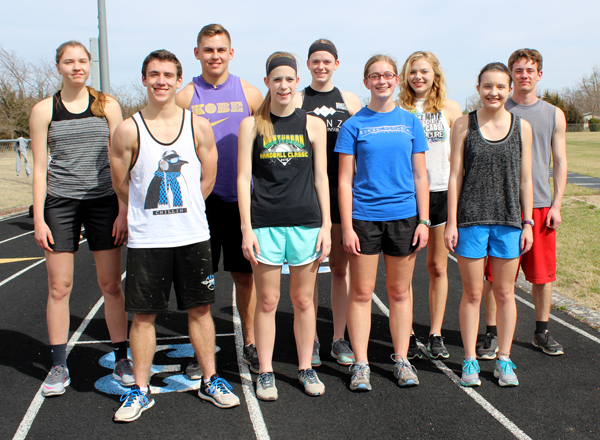 The Goessel High School track and field team has nine seniors and returning letter-winners competing this spring. From left: Stephany Meyer, Joshua Schmidt, Jordan Griffin, Maddy Meier, Olivia Duerksen, Edel Miller, Lauren Rymill, Julia Nightengale and Zachary Zogleman.