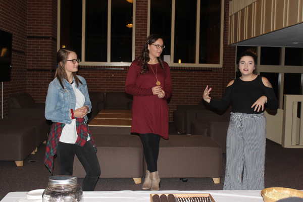 Tabor College hosted an information night to explain the worldwide Dressember Campaign. Sarah Paulus shared about middle and high school students participating while Chloe Lind and Danielle Armstrong shared about their participation as college students. Laura Fowler Paulus / Free Press