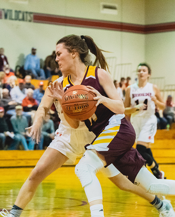 Kinsey Kleiner moves in for a layup in Thursday's game.Karrie Rathbone/special to the Free Press