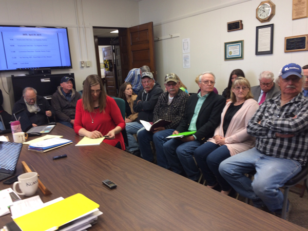 A majority of the constituents at the April 29 Marion County Commission meeting oppose the wind turbine project and asked the commissioner for a moratorium. Patty Decker / Free Press