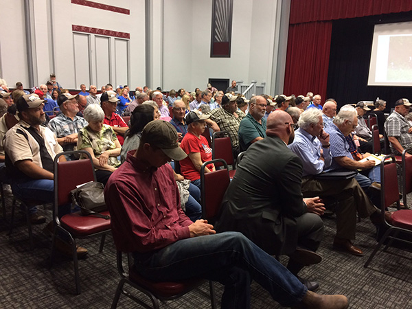 About 300 people attended the first of three nights of meetings regarding the wind farm project. Patty Decker / Free Press