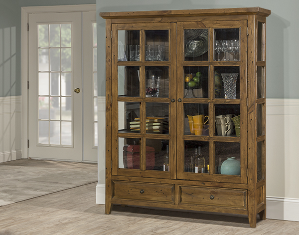 Tuscan Retreat Display Cabinet 2 Doors 2 Drawers With Clear Glass Antique Pine