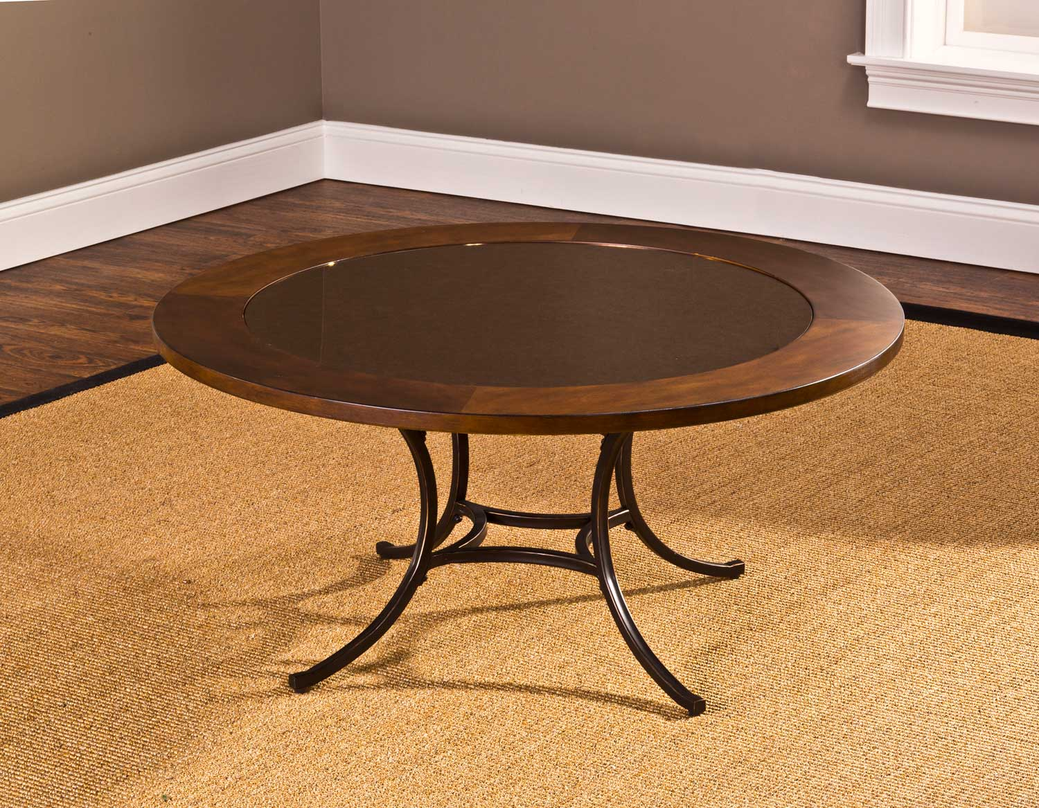 Hillsdale Montclair Round Coffee Table Wood Border With