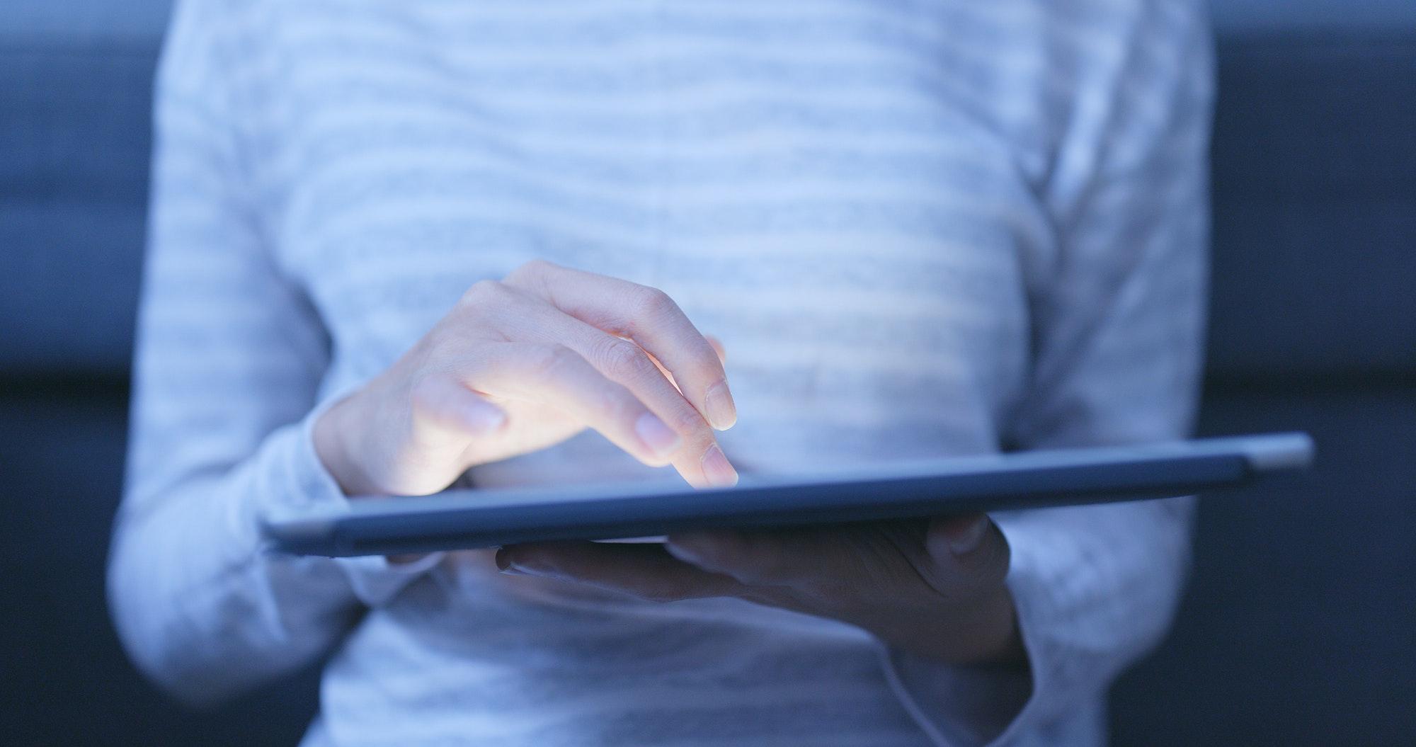 Using digital tablet computer at home