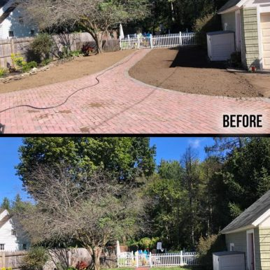 A before and after picture of a rolled lawn being installed