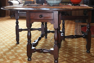 Hill-Stead Furniture Library Gateleg table closeup RETAKE cables