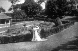 Ada Pope on the hillside near the original garden