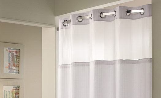 White Curved Shower Curtain Rod