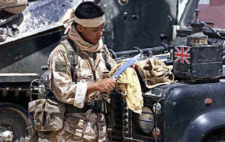 Gurkha Sharpening Kukri - Afghanistan training 2001