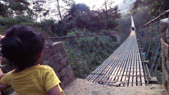 Before crossing a big suspension bridge