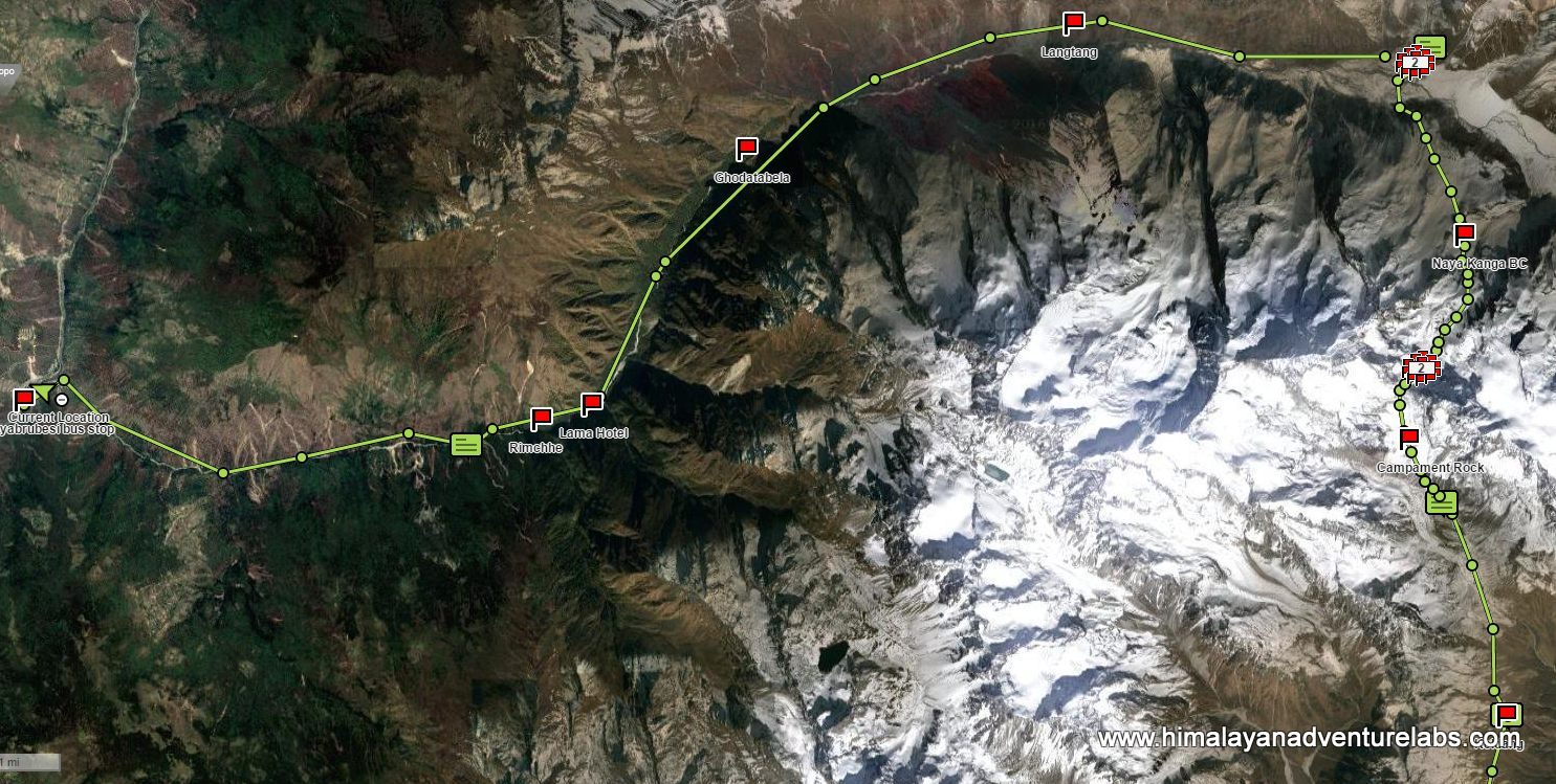 Our route into the Langtang Valley from bottom right (Kheldang) to top right (Kyang Jin Gompa ) in one push over pass. And then west in one day to Syrabu Besi running down the valley